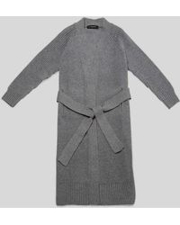 AYIHOLIC CASHMERE - Cashmere Open Front Belted Long Cardigan Grey - Lyst
