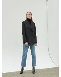 NILBY P - Peaked Lapel Double Jacket Black - Lyst