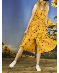 OUAHSOMMET - Flower Square-neck Pants Dress Yellow - Lyst