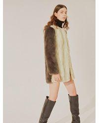 Jin Jin Island - Faux Fur Midi Coat Green Grey - Lyst