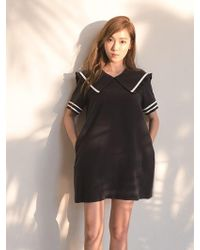 Long black 60s dress 32021