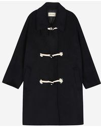 a.t.corner - Navy Mixed Cotton Side Pocket Double Coat - Lyst