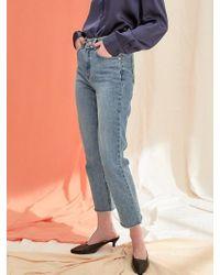 PLOT - Crop Straight Denim Pants Indigo Blue - Lyst