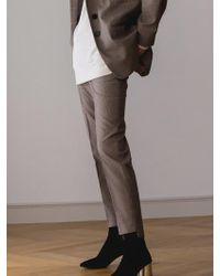 AEER - Glen Check Slim Pants Beige - Lyst