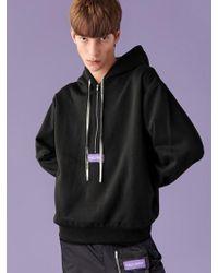 SLEAZY CORNER - [unisex] Pullover Half Zipup Hoodie Black - Lyst