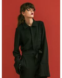 W Concept - Eyelet Long Sleeve Jumpsuit (black) - Lyst