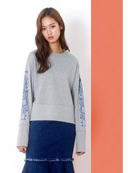 W Concept - Bat Print Sweatshirt Gray - Lyst