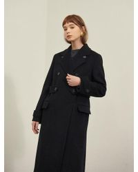 W Concept - Navy Double Wool Coat - Lyst