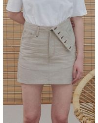 1159 STUDIOS - Mh6 Linen Inside-out Skirt_be - Lyst