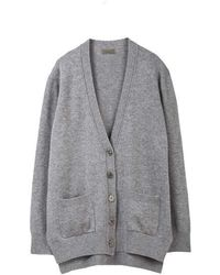 MADGOAT - Cashmere Button Cardigan_gray - Lyst