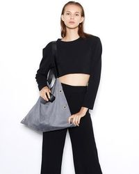 VIVICHO - Suede Shoulder Bag In Grey - Lyst