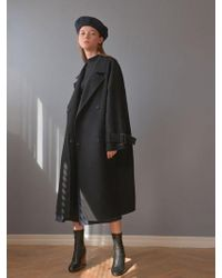 PLOT - Raglan Belted Point Handmade Coat_black - Lyst