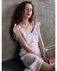 THE ASHLYNN - Vivian Tie Knot Sequins And Star Denim Wrap Dress - Lyst