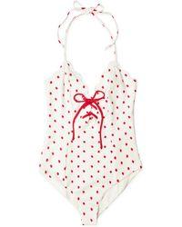 Marysia Swim - Broadway Tie Maillot White/red/peony Dot - Lyst