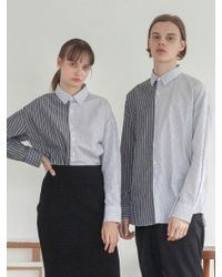 TARGETTO - [unisex] Coloration Stripe Shirt Grey Stripe - Lyst