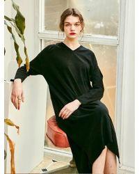 YAN13 - Rose Long Knit Dress - Black - Lyst