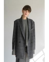 AEER - Glen Check Wool Cashmere Jacket Gray - Lyst