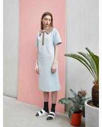 COLLABOTORY - Loose Fit Pique Dress Light Blue - Lyst