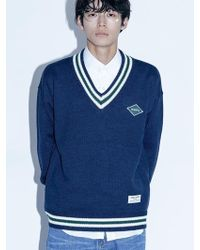 W Concept - [unisex]nmps V Neck Knit Navy - Lyst
