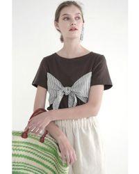 THE ASHLYNN - Selflove Dixie Linen Bow T-shirt_brown - Lyst