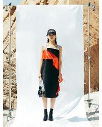 NINE ONE TWO - Asymmetric Drapered Panel Dress-black - Lyst
