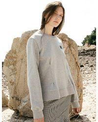 W Concept - Unsex Flower Motive Patch Dart Sweatshirt_grey - Lyst
