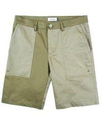 W Concept - Stretch Colour Block Shorts Khaki - Lyst