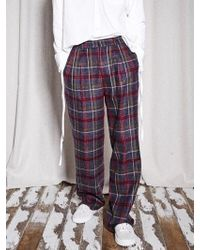 NOHANT - [unisex] Check Wide Trousers Burgundy - Lyst