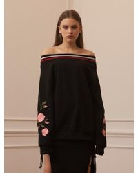 TARGETTO - Roses Off Shoulder Sweat Shirts Black Pink - Lyst