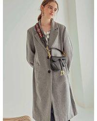 YAN13 - Minimal Wool Single Coat Gray - Lyst