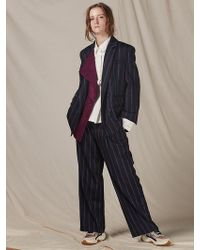 W Concept - Suede Color Matching Collar Vintage Stripes Suit - Lyst