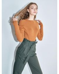 AYIHOLIC CASHMERE - Ribbed Knit Top Camel - Lyst