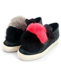 SHOBONYATA - Fox Fur Pompon Sheepskin Sneakers_ws3032c - Lyst