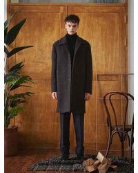 W Concept - Charcoal Grey Terry Wool Mac Coat - Lyst