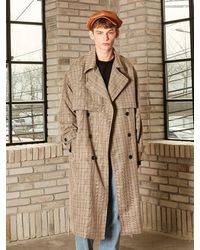 YAN13 Oversized Check Trench Coat Check Brown