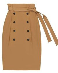 Charm's Classic Button Skirt Beige - Natural