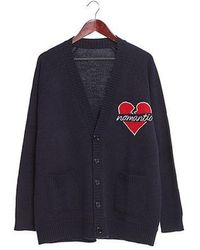 Beyond Closet - Romantic Holiday Nomantic Heart Logo Cardigan Navy - Lyst