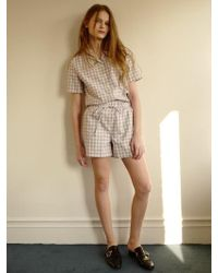 among - A Check String Shorts - Lyst