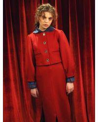 Vert Berry - Puff Sleeves Mini Wool Jacket : Red - Lyst