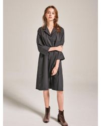 YAN13 - Collar Shirt Dress_dark Gray - Lyst