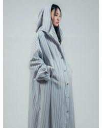ULKIN - Collection Label Stripe Linen Hoody Shirt Grey - Lyst
