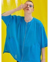 Add - Short Sleeve Zipper Jacket Blue - Lyst