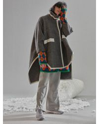 W Concept - Knit Trimmed Cape Coat Charcoal Grey - Lyst
