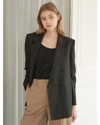 NILBY P - Linen Double Jacket [bk] - Lyst