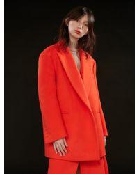 AEER - Jacket Loose Fit Belted Orange Black - Lyst