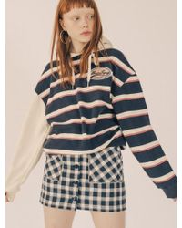 W Concept - Button Fly Line Check Skirt Navy - Lyst