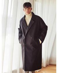 LIUNICK - Heavy Wool Bland Oversize Double Coat Black - Lyst