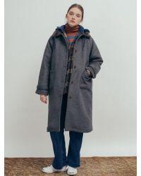 W Concept - Faux Fur Lining Wool Long Coat_charcoal - Lyst