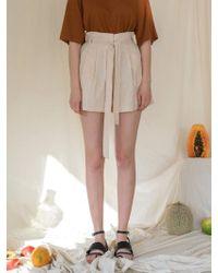 among - A Linen Banding Shorts - Beige - Lyst