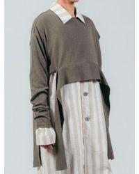 ULKIN - Collection Label Side Open Belt Knit Crop Top - Lyst